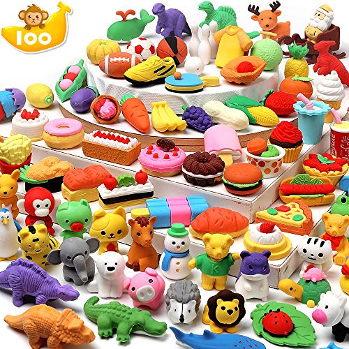 HINZER 100 Pack Animal Erasers for Kids Bulk Pull Apart Erasers 3D Puzzle Erasers Classroom Rewards and Prizes Class Treasure Box Kids Party Favors