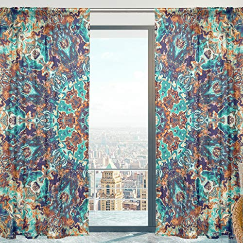 Mnsruu - Cortinas de Tul para Ventana (140 x 198 cm, 2 Paneles), diseño de Mandala Bohemio