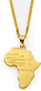 Hip Hop Jewelry 75cm Long Chain Platinum 18K Gold Plated African Map Pendant Necklace