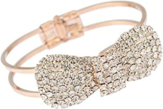 Zehui Fashion Cute Jewelry Crystal Rhinestone Bow Bowknot Bracelet Bangle Wristband