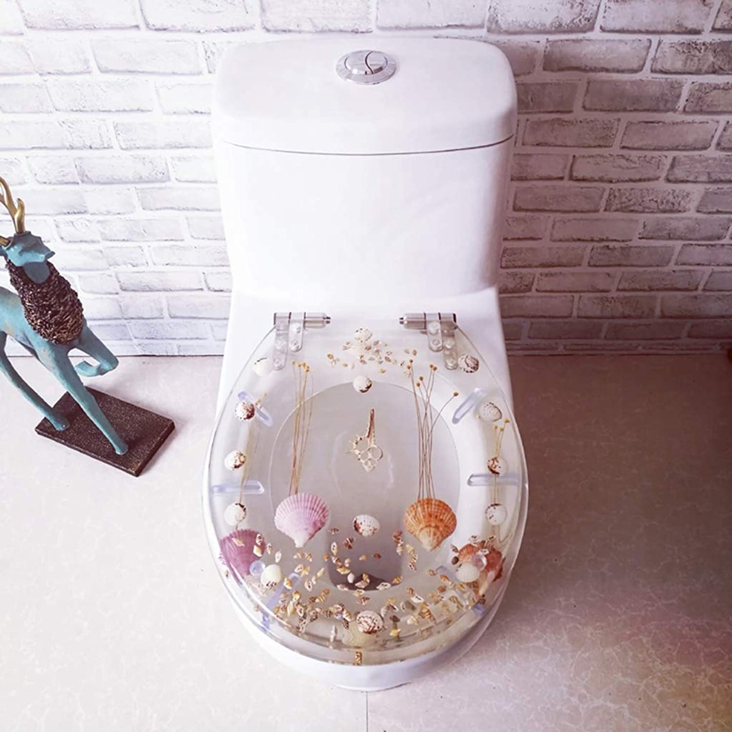 WC-Sitz Toilet seat, resin toilet cover Ordinary toilet cover transparent dry flower stainless steel slow-release quick release hinge OUV universal