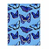 QH 58 x 80 Inch Blue Butterfly Print Super Soft Throw Blanket for Bed Couch Sofa Lightweight Travelling Camping Throw Size for Kids Adults All Season
