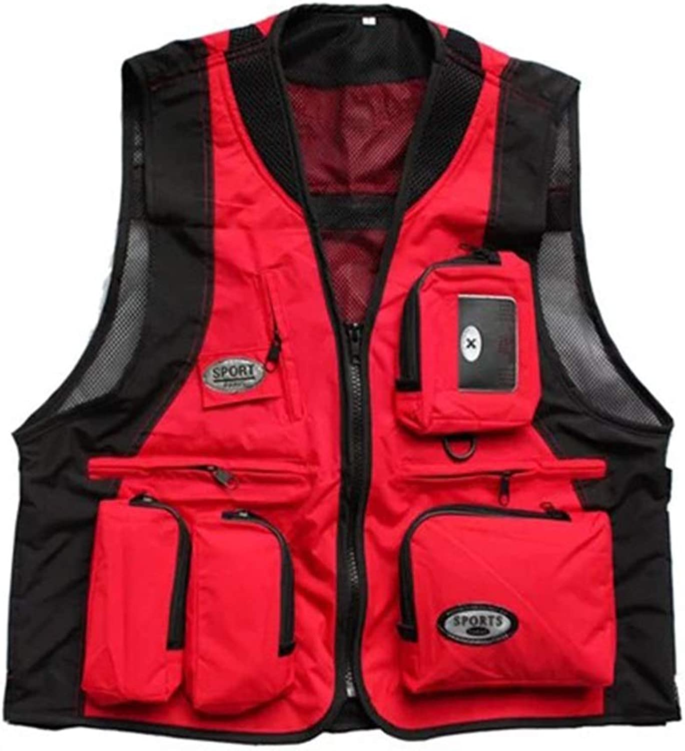 YY4 MultiPockets Vest Waistcoat of MuiltFunction Quick Dry for Mountaineering Male Photographer Fishing (color   Red)