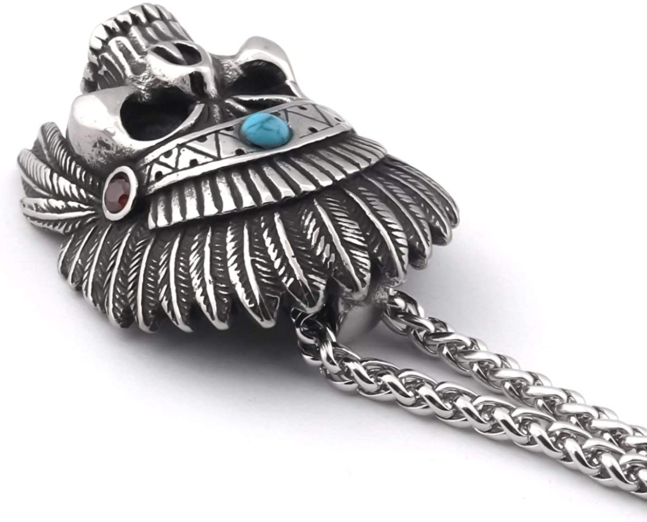 GUNGNEER Native American Chief Skull Pendant Stainless Steel Keel Chain Necklace Indian Eagle Tribal Jewelry for Mens Womens