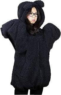 Womens Teddy Bear Ear Coat Hoodie Hooded Jacket Fleece Warm Baggy Outerwear Black