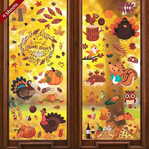 LessMo Herbst Ahornblätter Fenster Aufkleber, 9 Blätter Erntedankfest Fensteraufkleber, Fensterabziehbilder Herbstdekor Partydekoration Kürbis und Ahornblatt Fallen unter dem Motto Zubehör für Herbst