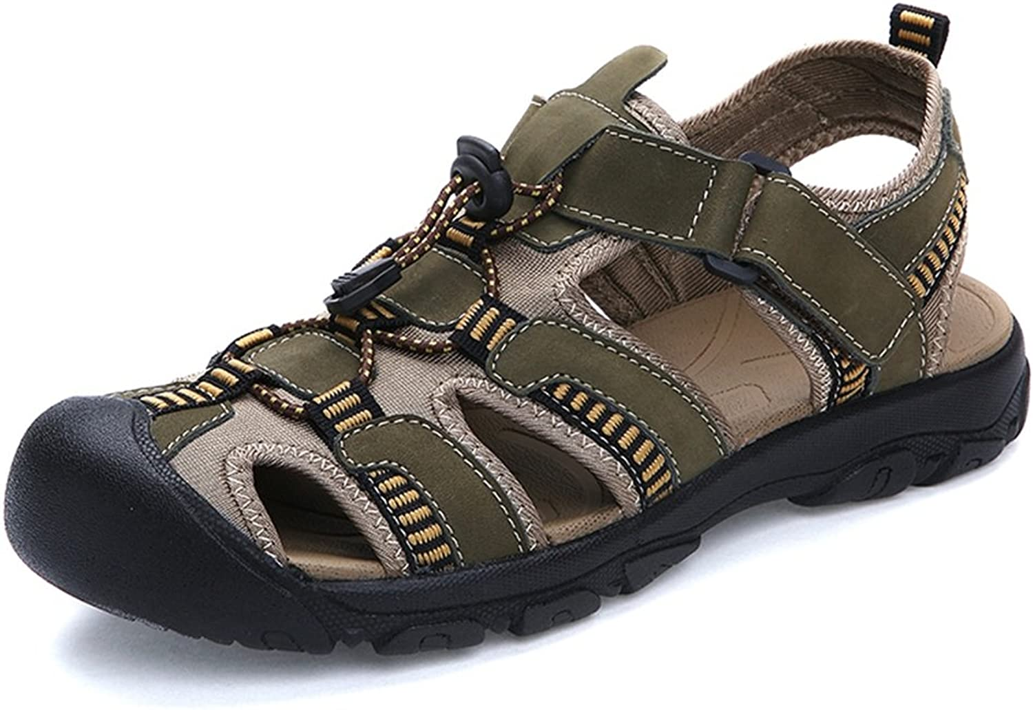 HHF Flat Sandals & Slippers, Men's Ox Skin Summer Beach Sandals, Breathable Magic Tape Foot Up to Size 48EU