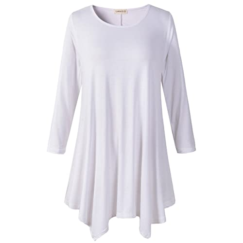 0f705cb5bd1f0 LARACE Women Plus Size 3 4 Sleeve Tunic Tops Loose Basic Shirt