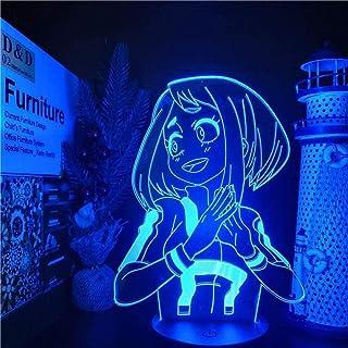 Tatapai Luz de noche 3D Anime japonés Ilusión Lámparas de decoración LED Boku no Hero Academia OCHACO URARAKA Luces de noche LED Lámpara de anime My Hero Academia Luz visual 3D Decoración del hogar