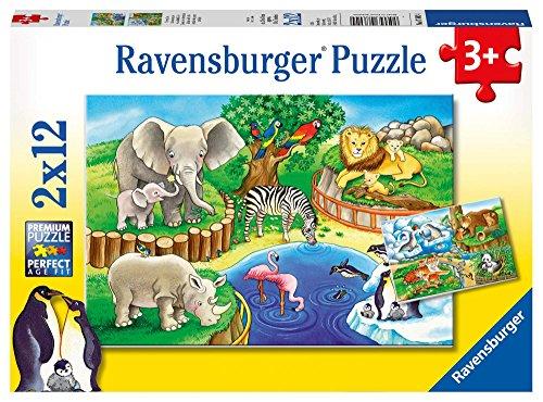 Ravensburger Kinderpuzzle 07602 - Tiere im Zoo - 2 x 12 Teile