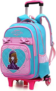Girl Trolley Backpack Large Capacity Waterproof Wear-resistant Staircase School Book Bag Lightening Spinal guard