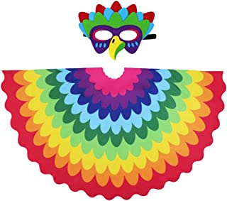 Kids Bird Wings for Girl Boy Parrot Costume and Dress-Up Mask