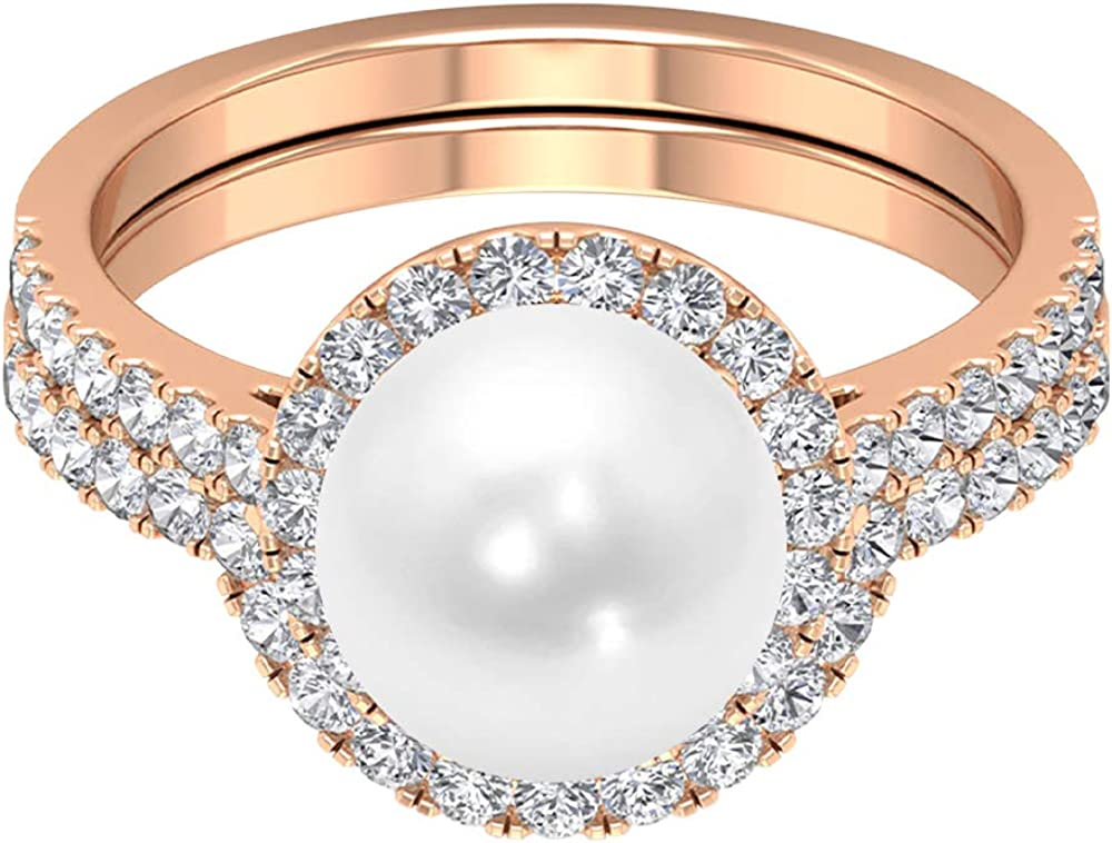 4 CT Baltimore Mall Solitaire Freshwater Ranking TOP2 Pearl E Ring D-VSSI 3 Moissanite