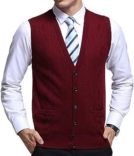 chouyatou Men's V-Neck Jacquard Lightweight Wool Knitwear Vest Sweater Waistcoat Pocket