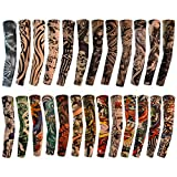 Tongcloud 25pcs Temporary Tattoo Sleeves Arm Sleeves Arts Fake Slip Sports Arm Sleeves Stockings Slip Accessories Halloween Tattoo Soft for Men Women Stretchable Cosplay Accessories (25 Random Color)