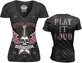 Lethal Threat Women's Shirt (Live Loud V Neck (Mineral Washed)) (Black, Small)