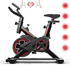 Indoor Cycling Exercise Bike, Silent Belt Drive Cycle Bike with Adjustable Handlebars & Seat, Chromed Flywheel, LCD Monito...
