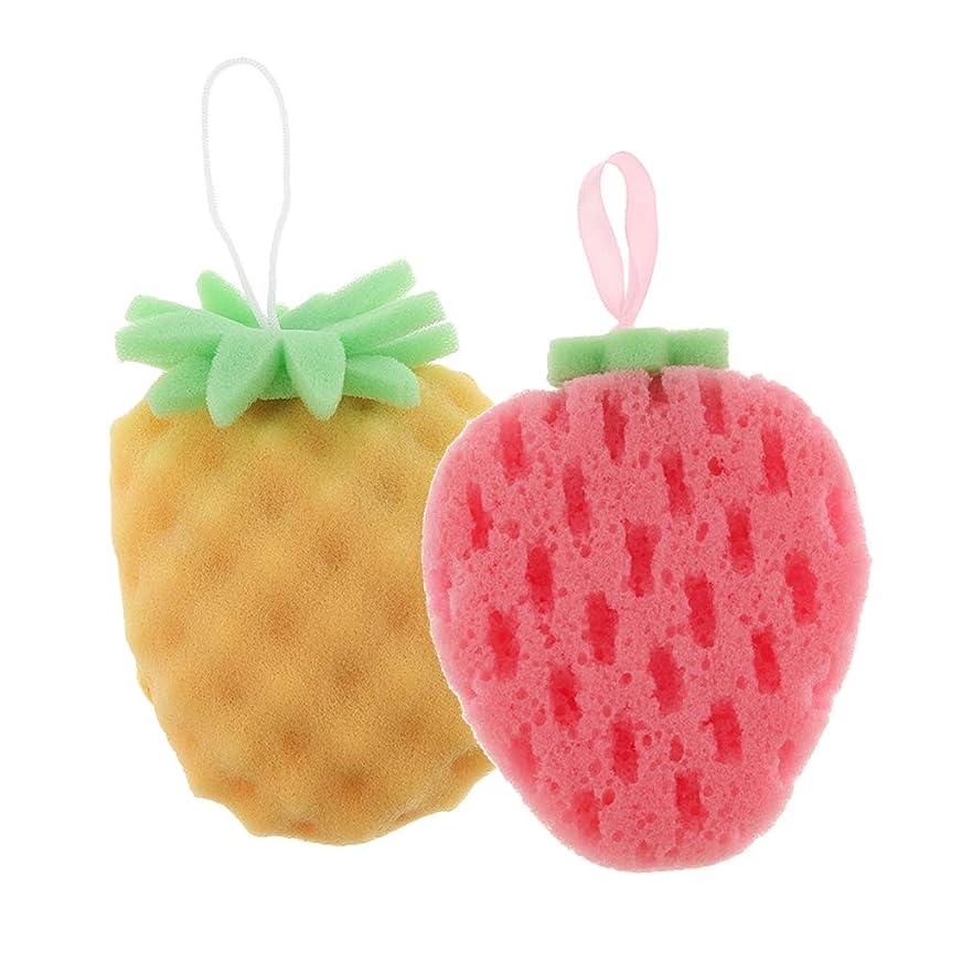 重力平らなアクセスBaoblaze 2個 バススポンジ ボディスポンジ 可愛い フルーツ 果物の形 子供 お風呂