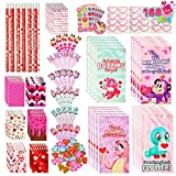 28 Pack Valentines Day Stationery Set with Treat Bags for Kids Party Favor, Classroom Exchange Prizes,includes Notebooks,Rulers,Erasers,Pencils,Stickers