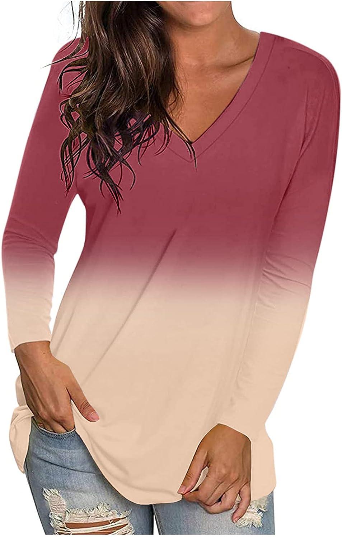 Plus Size Tops for Women 2021 Fashion Casual Gradient Tie Dye V-Neck Long Sleeve Loose T-Shirt Tops Side Split Blouse