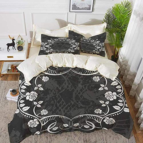 161 Queen,Delicate Victorian Antique Circular Flora with Crown Vintage Grunge Rusted Royal,Hypoallergenic Microfibre Duvet Cover Set 230 x 220cm with 2 Pillowcase 50 X 80cm