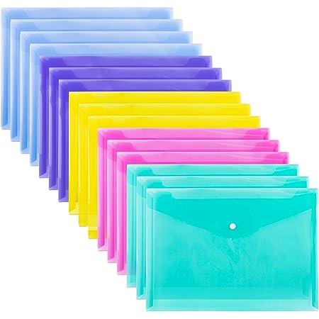 Amazon Basics Lot de 16 Pochettes en plastique, bouton-pression, Format A4