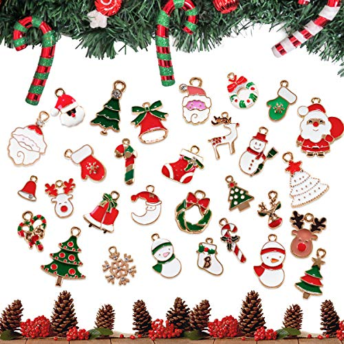 Surplex 30 pz Christmas Fascino del Pendente, Pupazzo di Neve dell'alce del Babbo, Mini Decorazione Ciondoli Natalizi Colorati Pendenti per Natale Gioielli Fai da Te Collane Bracciali Stili Misti