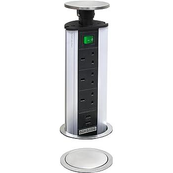 MOTORISED POP UP SOCKET 3 UK SOCKETS-2 USB SOCKET TOP QUALITY