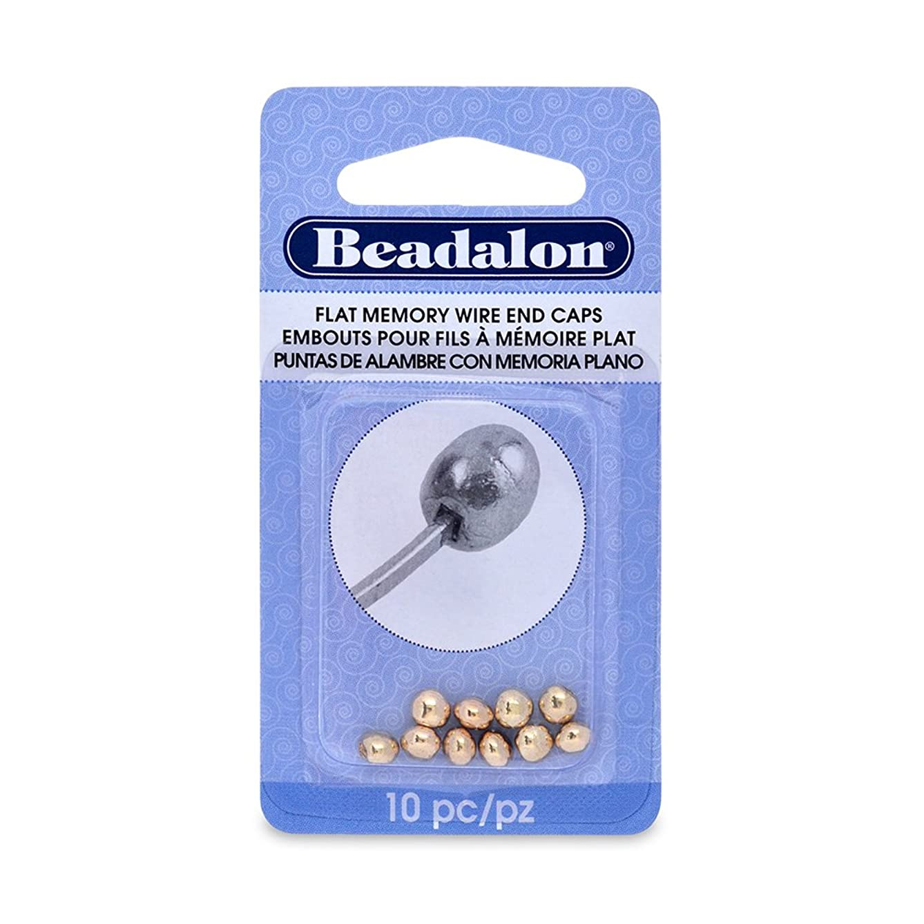 Beadalon 10-Piece Flat Memory Wire End Cap Set, 0.19 by 0.15-Inch, Gold