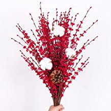 YUYAO 12 Pcs Artificial Jasmine Flowers Fake Long Flower Branches Dry Flowers for Wedding Home Office Party Decoration (Red)