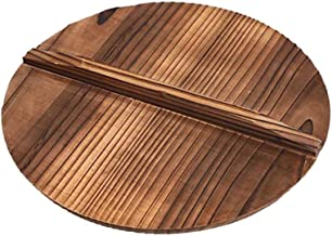 Housoutil Wooden Pot Cover Pan Lid with Large Handle for Cast Iron Wok Pot Pan or Skillet Cover Anti- Spillover Wooden Kit...
