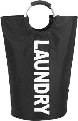 Asixx ランドリーかご ランドリーバスケット 洗濯ボックス 収納ボックス 折り畳み 軽量 持ち運びヘンリ 雑貨収納 取っ手付き(黒)