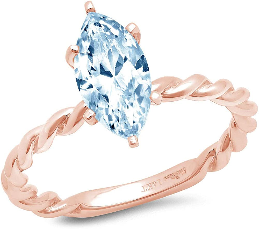 Be super welcome 1.95ct Marquise Cut Solitaire Rope Twisted Aquamarine Knot Beauty products Blue