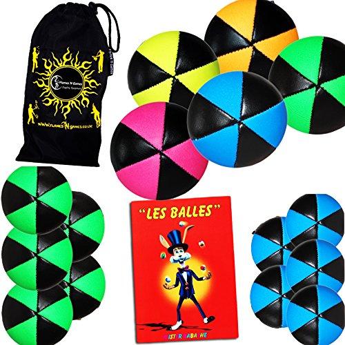 5 Balles de Jonglage Astrix UV - Pro Jonglerie Beanbag Jonglage Balles Leather + Mr Babache Livre sur Les Techniques de jonglage (en français) + Sac de Transport. (Noir/UV Vert)
