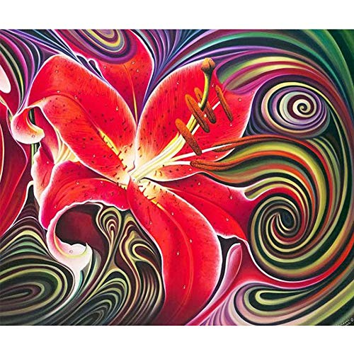 Demarkt Red Lily 5D Embroidery Painting Rhinestone Inserted DIY Diamond Painting Cross Stitch For Embroidery Painting Decoration
