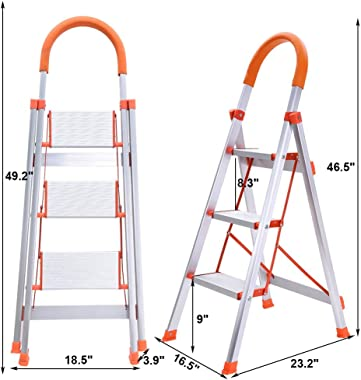 3 Step Ladder Folding Stepladder, Aluminum Step Stool Ladder, Multi-Use Ladder with Anti-Slip Handgrip and Wide Pedal (White)