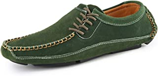 HUANGAIHUA Men's Driving Loafer Round Toe Flat Heel Solid Color Splice Vamp Slip on Shoes