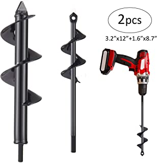 "Biubee 2 Pcs Auger Drill Bit- 3.2'' x 12"" and 1.6'' x 8.7"" Garden Drill Bit Garden Plant Auger Post Hole Digger for 3/8� Hex Driver Drill Planting"