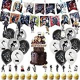 Jujutsu Kaisen - Juego de decoración para fiestas, Anime de Fiesta Temáticos 34Pcs Decoraciones de Fiesta de cumpleaños de Anime,Anime Feliz Cumpleaños del Pancarta,Decoracion Cumpleaños Anime