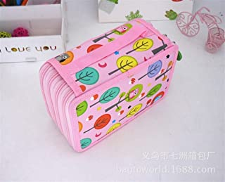YWSCXMY-AU Cute Pencil Case Kawaii Cartoon Pencil Case 32/52/72 Roll Pencil Case Stationery Bag (Color : Brown)