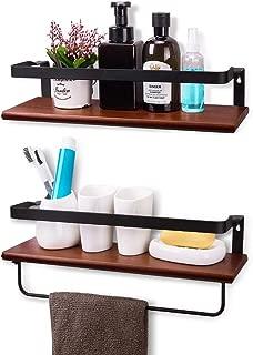 YASASHELF Floating Shelves Wall Mounted, Rustic Wood Wall Shelves for Bathroom, Kitchen, Living Room, Bedroom, Office etc. - Set of 2 Brown