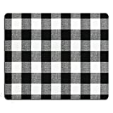 SSOIU Personalized Unique Design Oblong Shaped Mouse Pad Black and White Buffalo Check Plaids