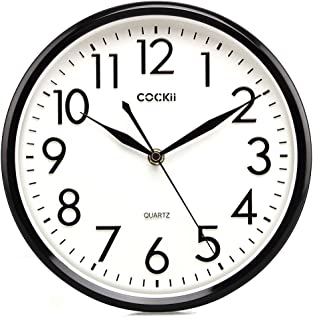 Cockii 10 Inch Silent Wall Clock Non-Ticking Quartz Decorative Clock, 3D Numbers Display, Battery Operated Wall Clocks for Office, Room, Kitchen