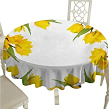 cashewii Yellow Flower Elegance Engineered Christmas Tablecloth Abstract Frame Yellow Tulip and Blue Forget Me Knot Blooms Bouquets Indoor Outdoor Camping Picnic D50 Mustard Fern Green