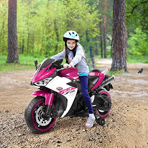 BRADEM Kids Electric Motorcycle 12V Ride On Cars for Toddler Boys Girls Age 3 4 5 6 7 8 Year Old Children Riding Toys with Flashing Wheels (Pink)