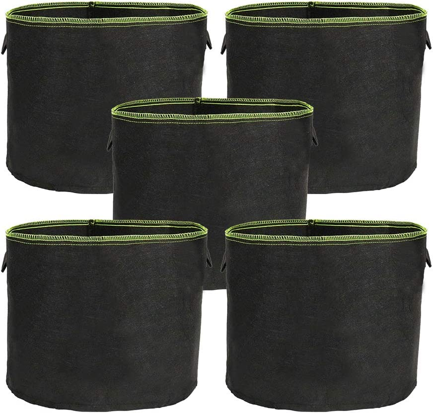 ValueHall Bolsas de Cultivo 5 Bolsas Saco para Plantas con Asas Growing Bag no Tejido Bolsa de Siembra para Tomates Papas V8020B (37 L)