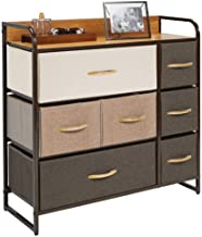 mDesign Wide Dresser Storage Chest, Sturdy Steel Frame, Wood Top, Easy Pull Fabric Bins - Organizer Unit for Bedroom, Hallway, Entryway, Closet - Textured Print, 7 Drawers - Multi-Color/Espresso Brown