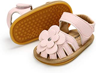 Meckior Baby Toddler Infant Girls PU Leather Soft Closed Toe Summer Sandals Flower Princess Flat Shoes Black Size: 12-18 M...