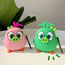 BONTOUJOUR AirPods Case, Super Funny Creative Cute Standing Big Eyes Big Nose Angry Bird Friends AirPods Case, Soft Silicone Earphone Protection Skin for AirPods1&2+Hook -Pink