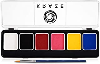 Kraze FX Fundamentals Professional 6 Color Face Paint Palette (6 gm) with Brush - Water Activated, Hypoallergenic, Safe, Non-Toxic Face Painting Kit for Sensitive Skin, Kids & Adults